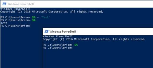 Die in einem PowerShell-Fenster erstellte Variable kann von einem anderen PowerShell-Fenster aus nicht angesprochen werden.