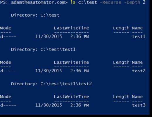 Limiting folder depth