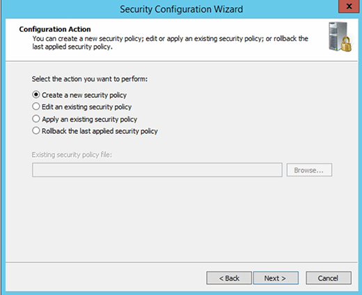 Security policy options in Security Configuration Wizard