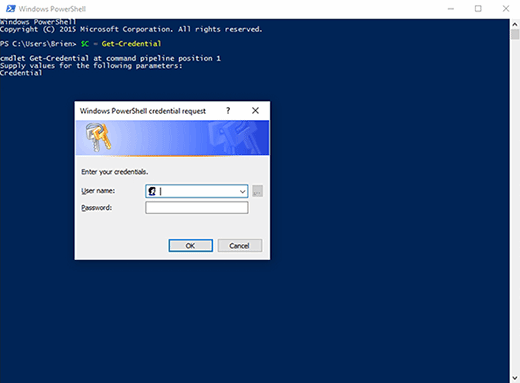 Windows PowerShell administrative credentials prompt