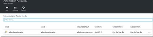Create a Microsoft Automation account.