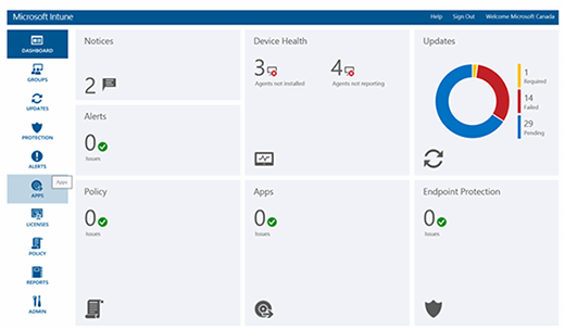 Intune web interface