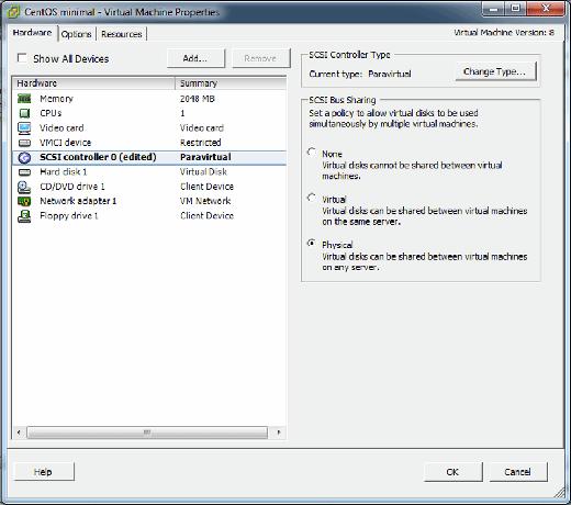 SCSI bus sharing setting