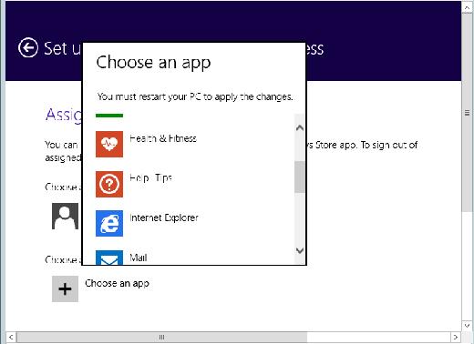 Choose an app to assign to a particular Windows 8.1 user.