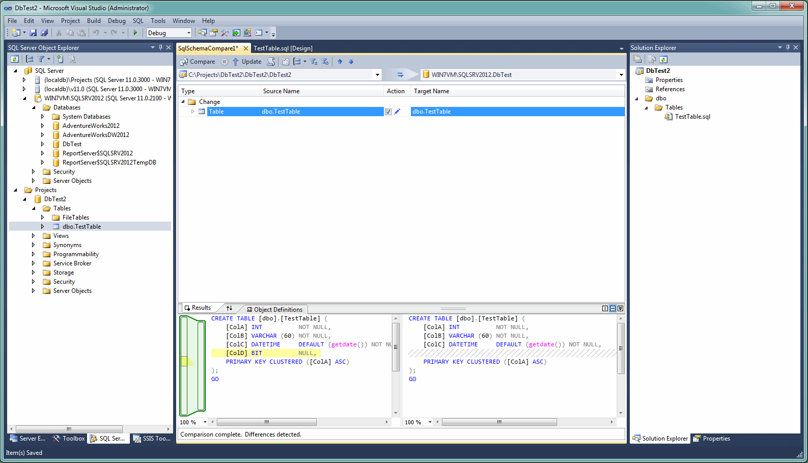 SSDT 2012 schema comparison view