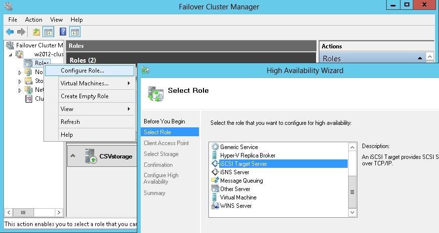 Configuring iSCSI Targets on Windows Server 2012 Failover
