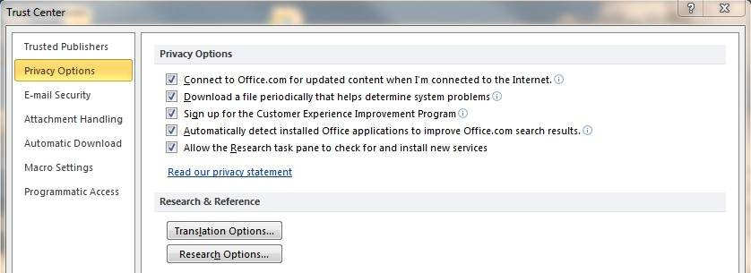 The Outlook 2010 Trust Center's security settings aren't a big deal.