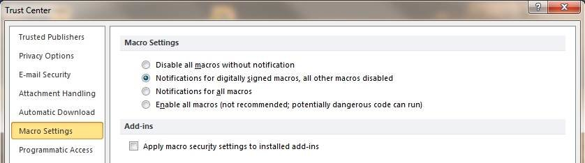 Disable macros in the Outlook Trust Center