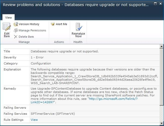 SharePoint returned an error message that states that the database must be upgraded