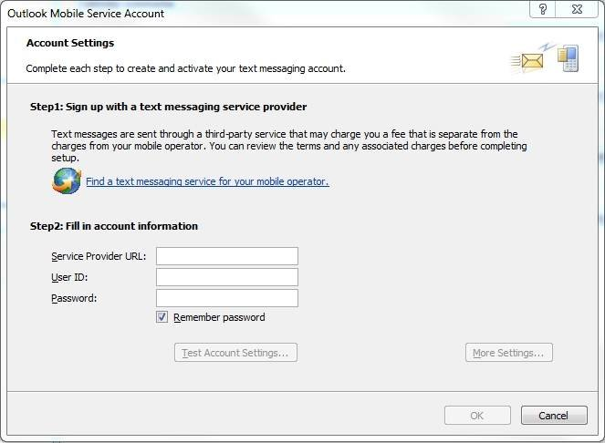 Get a messaging service provider within Outlook 2010.