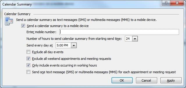 "Send an Outlook 2010 calendar summary to a mobile phone."" border="