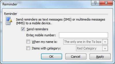 "Send Outlook 2010 reminders via text."" border="
