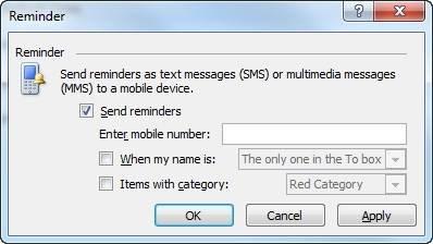 "Send Outlook 2010 reminders via text."" border="