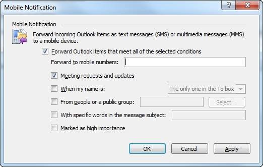 "You can forward various Outlook 2010 items via text."" border="