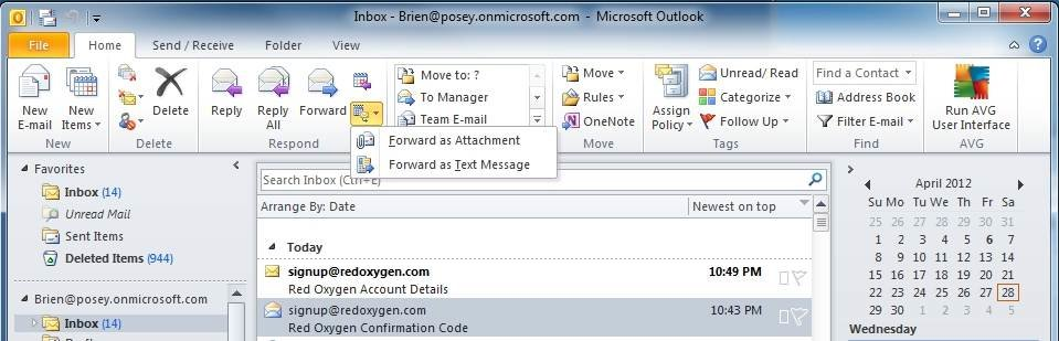 How to send Outlook 2010 items via SMS text message