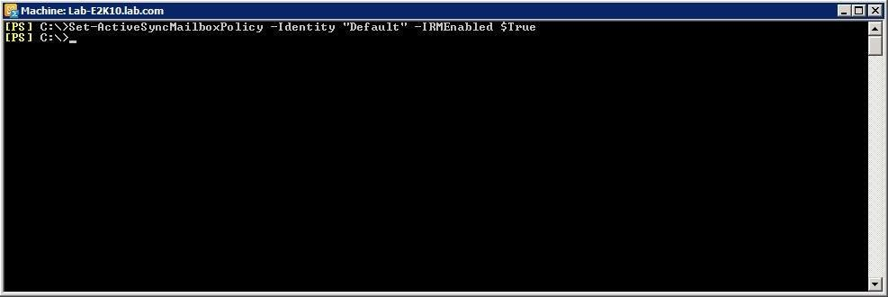 Enabling the default Exchange ActiveSync mailbox policy.