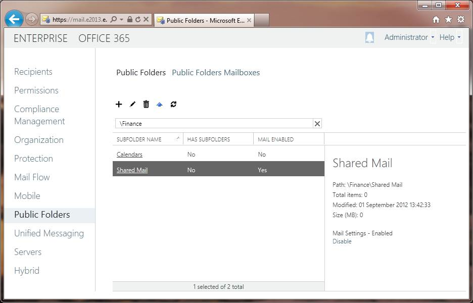Viewing modern public folders in the EAC