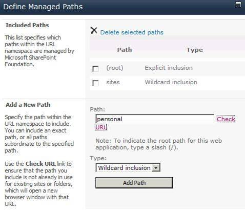 Define managed paths in SharePoint 2010.