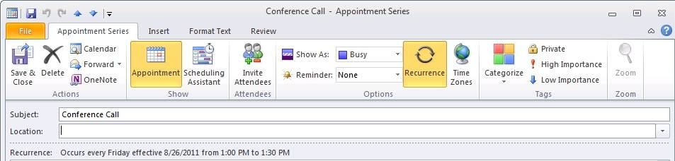 Click the Recurrence icon in Outlook 2010.