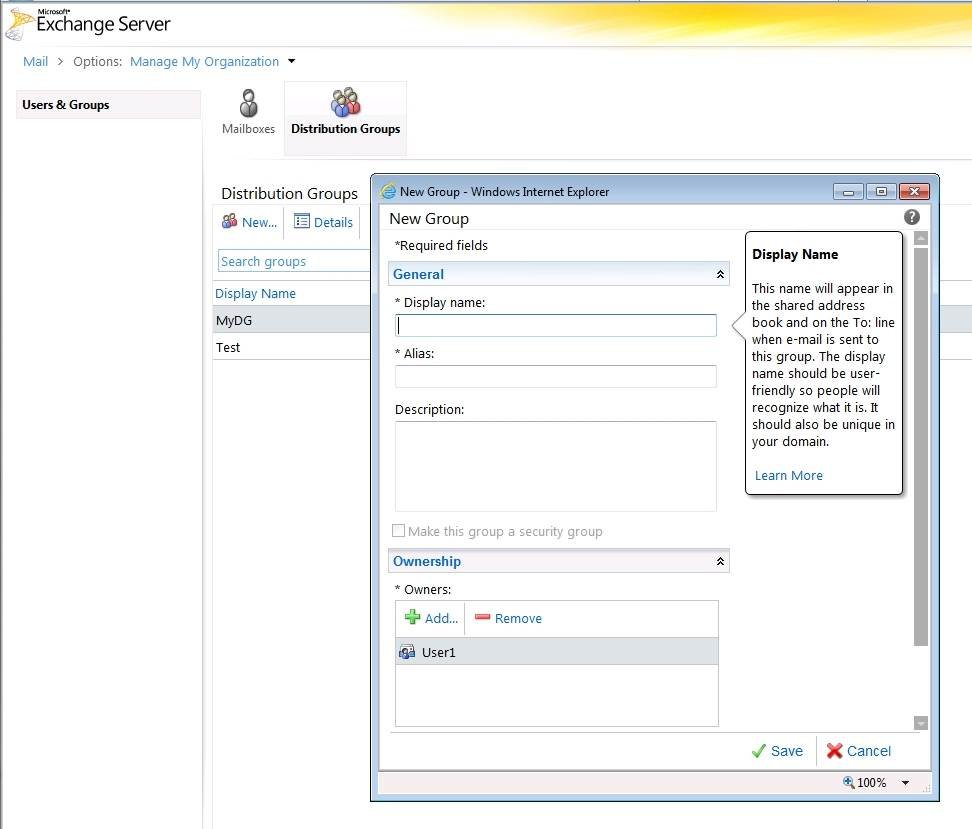 Your Exchange 2010 users can now create distribution groups.