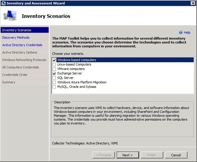 Take inventory of Windows computers and Exchange Servers to track licenses.