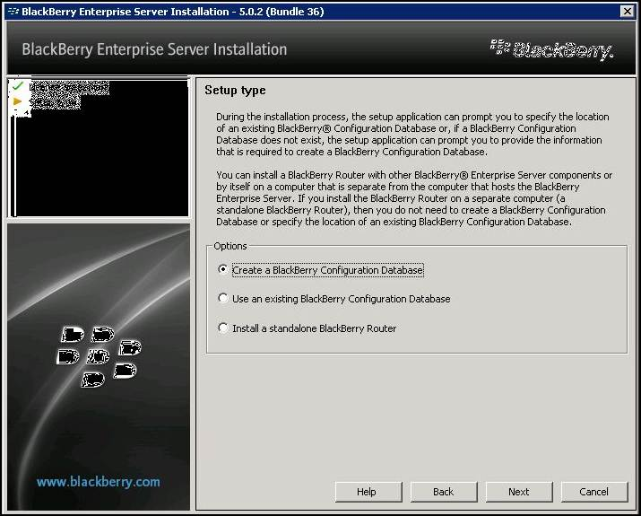 Create a BlackBerry Configuration Database.