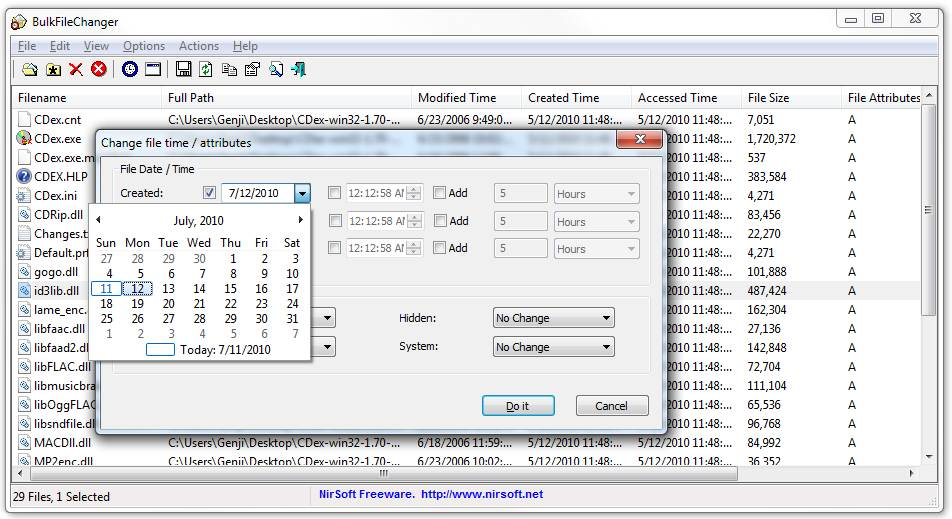 Changing a file's creation date in BulkFileChanger. The calendar control makes it easy to choose a date visually.