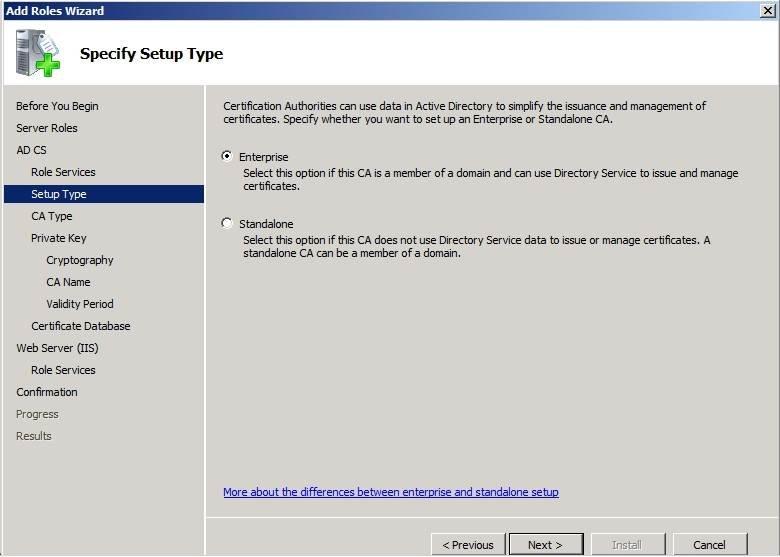 Windows Server 2008 R2 Enterprise Certificate Authority Setup