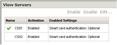 Fig. 2: Configuration page for viewing servers.