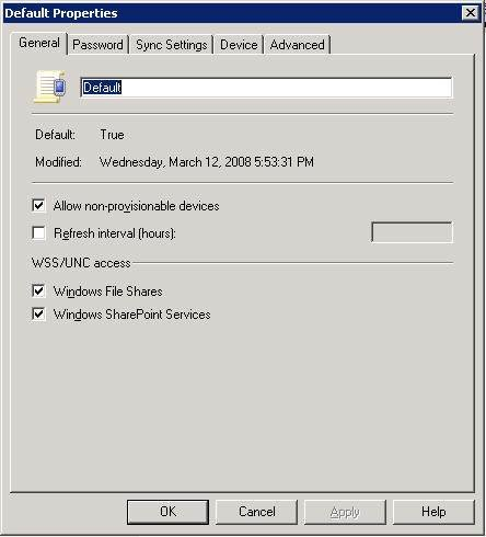 the Default ActiveSync policy General tab