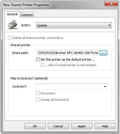The New Shared Printer Properties console