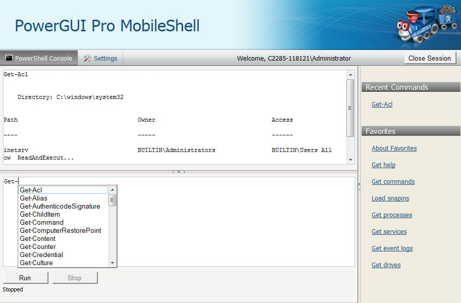 The PowerPRO GUI -- MobileShell interface