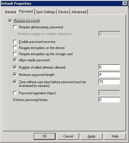 the default ActiveSync Policy tab