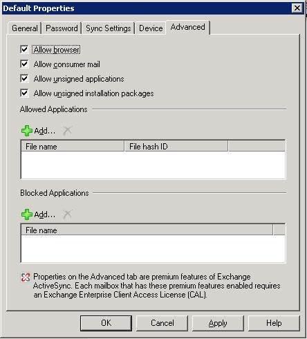 Default ActiveSync policy Advanced tab