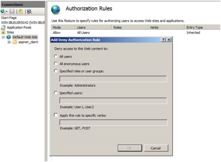 How to configure IIS authorization and manager permissions
