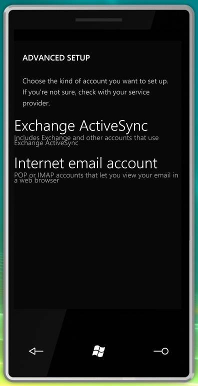 Do you want to connect to Exchange or to an Internet mail account?
