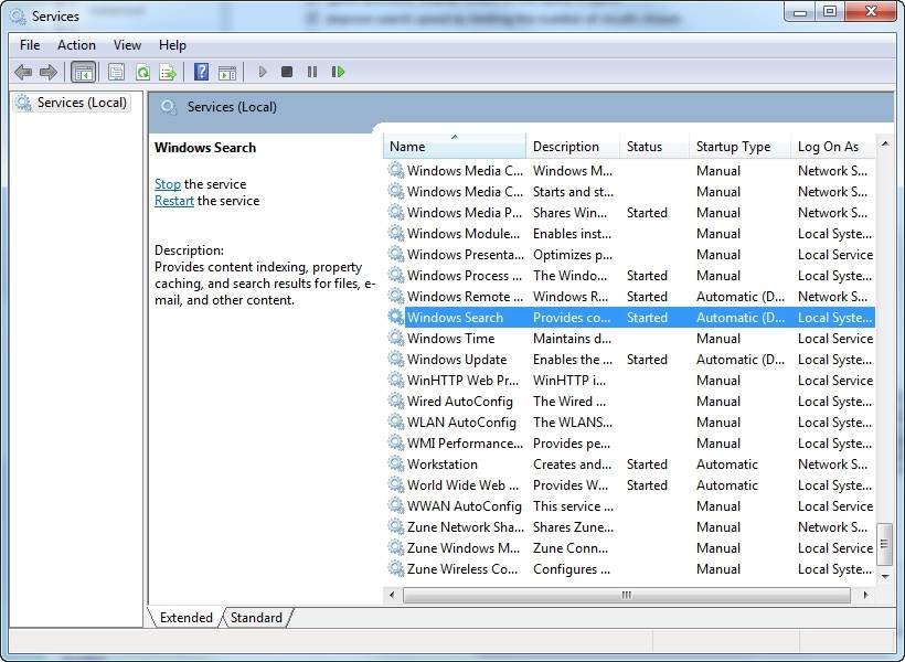 How to repair the Outlook 2010 search index