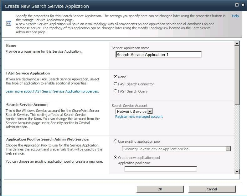 Name your new SharePoint Search Service Application.