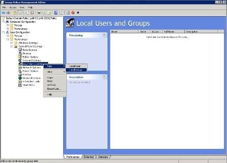 Select New then Local Group from the shortcut menus