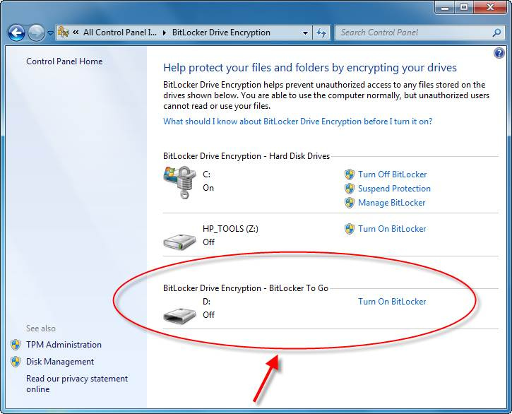 Securing removable drives with BitLocker To Go