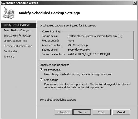 Windows server backup in Windows Server 2008 R2