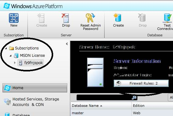 Figure 1. This screenshot shows Windows Azure subscriptions and firewall rules.
