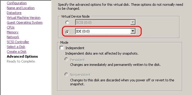 Creating a virtual machine and VM configuration in VMware