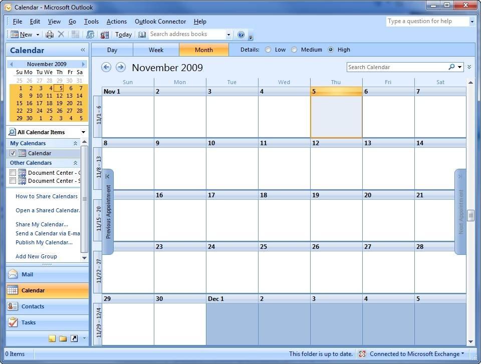 Crash course on Microsoft Outlook 2007 calendar sharing