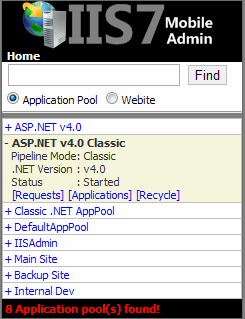IIS7 Mobile Admin lets you inspect application pools and recycle them on demand if they are not responding