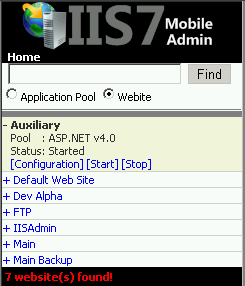 The app also lets you administer individual websites by inspecting their configuration or starting/stopping sites