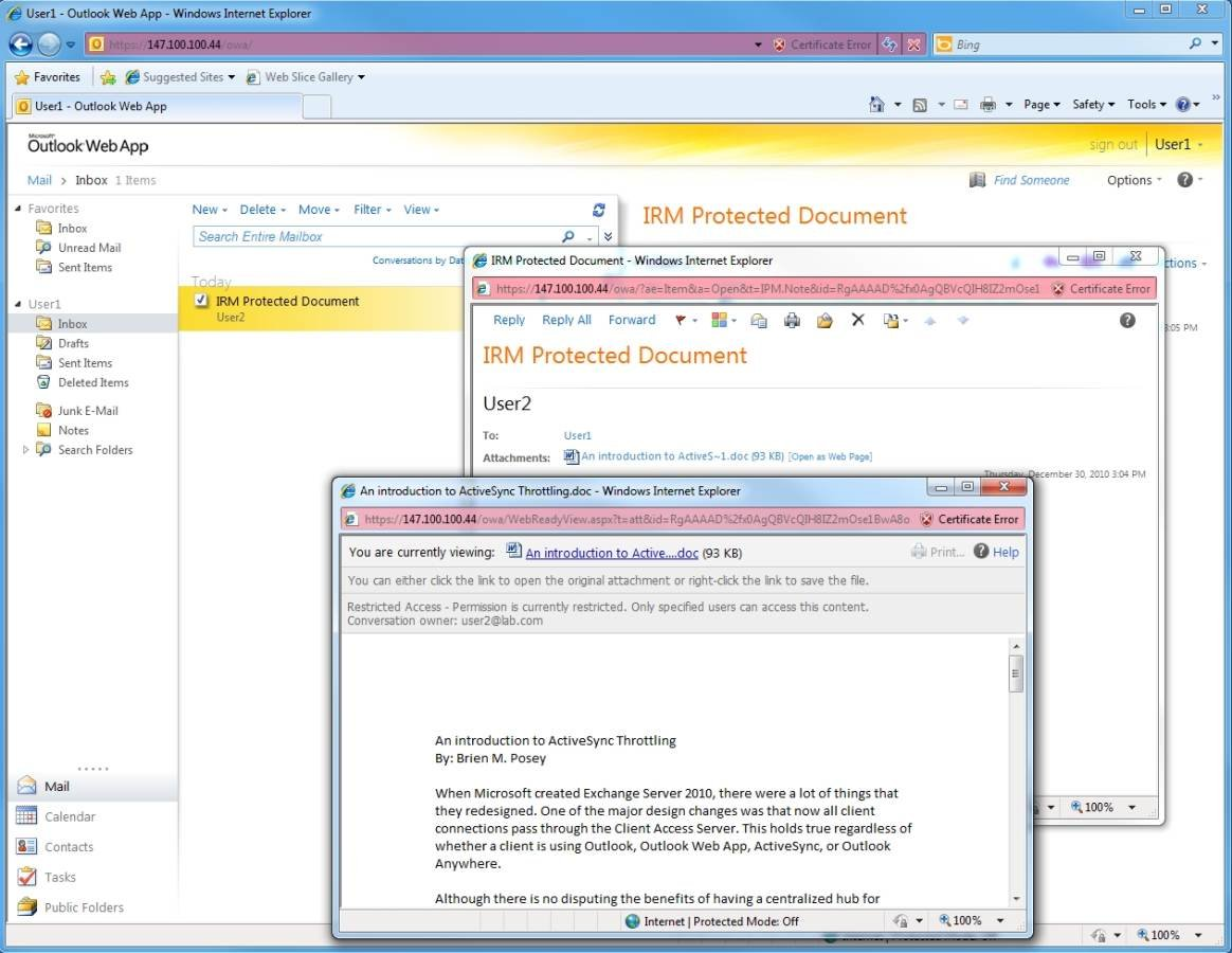 IRM-protected documents can be viewed via IE, FireFox and Safari Web browsers