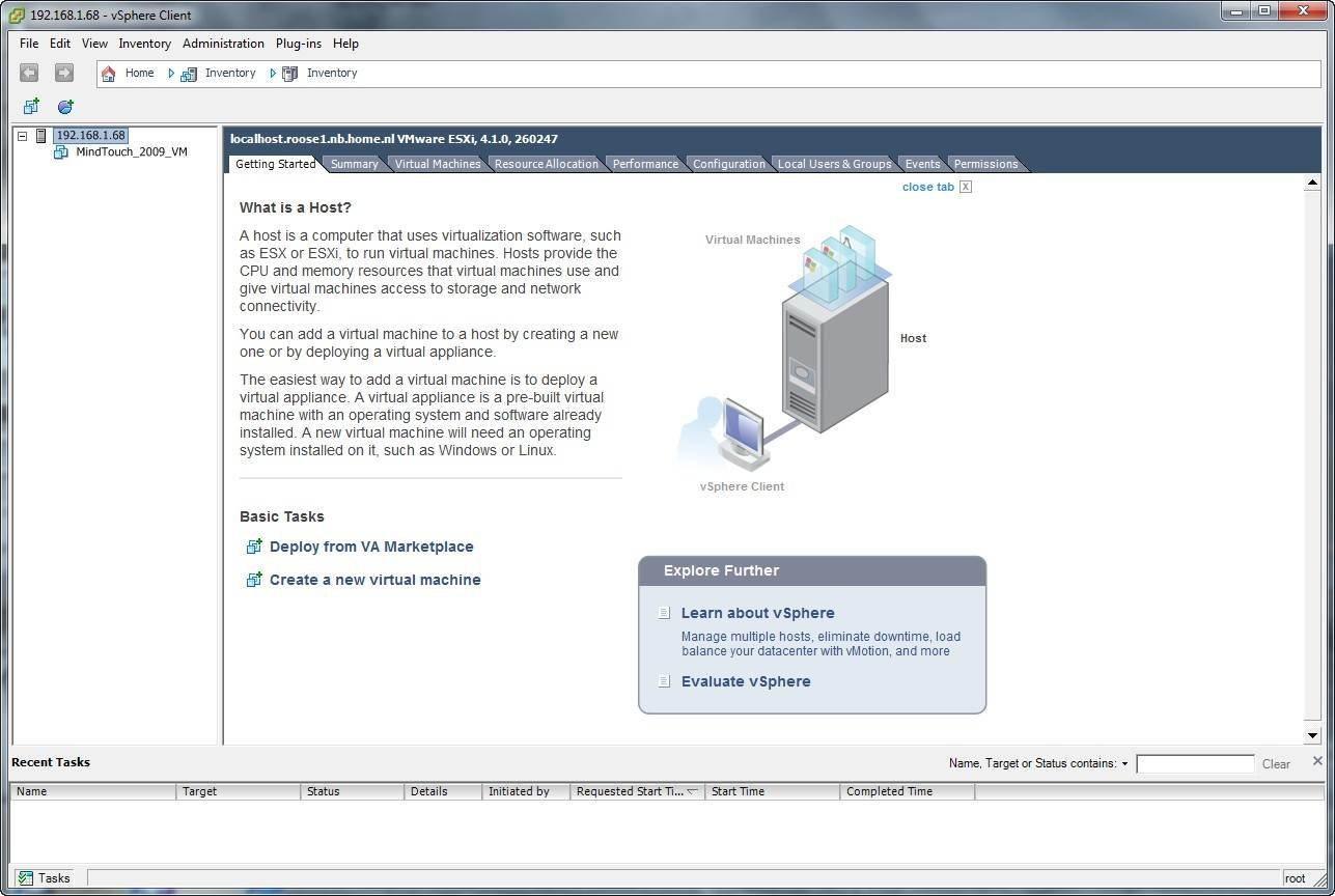 Using VSphere Client for free virtual infrastructure management