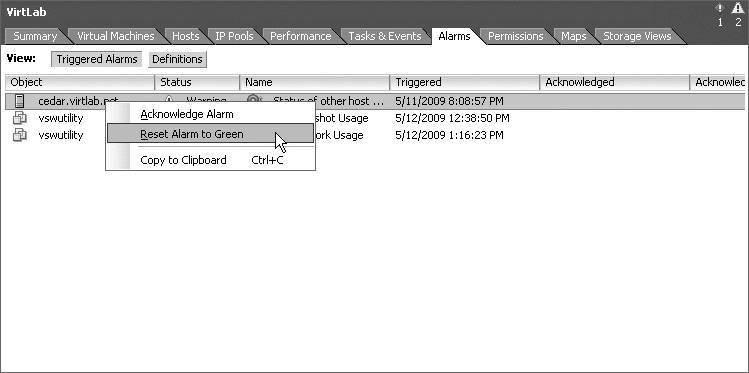 Monitoring VMware vSphere performance using alarms