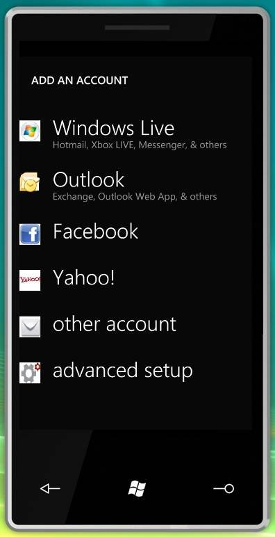 Windows Phone 7 supports various types of accounts